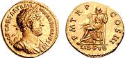 Aureo de Adriano. P M TR P COS III - LIB PVB. Libertad sedente a izq. Ceca Roma. Au2_bis