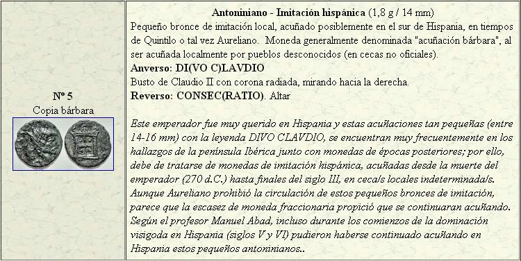 Antoniniano de imitación hispánica de Claudio II. Altar. Claudio_II