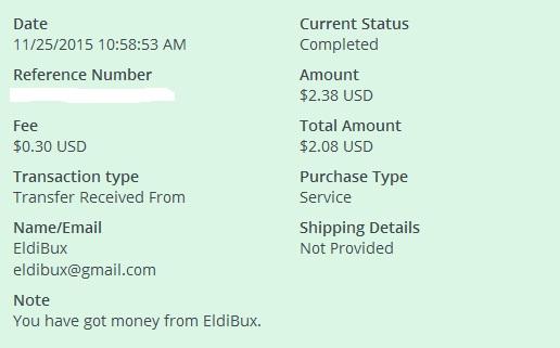 1º Pago de Eldibux ( $2,38 ) Eldibuxpayment