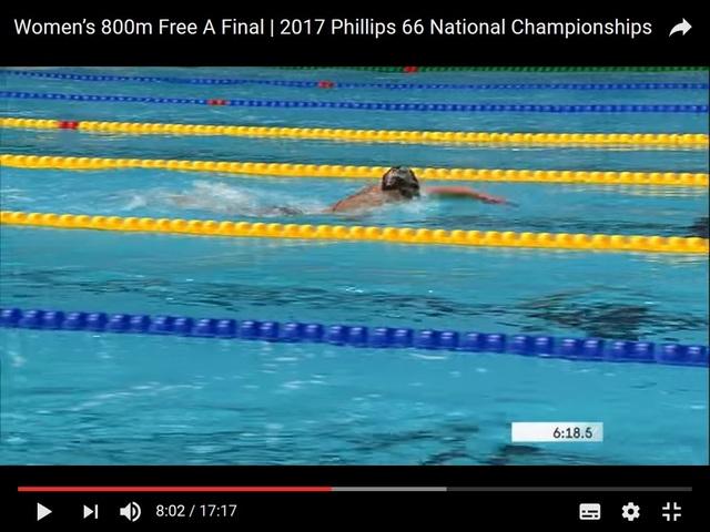 USA Leah Smith 800 m heat Ledecky_sighting