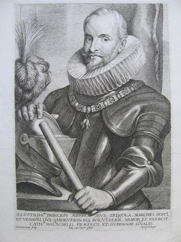 Grabado retrato de Ambrosio Spínola. c.1630. Autor Lucas de Vorsterman. Dedicado a Patricia 2803_9_2_1