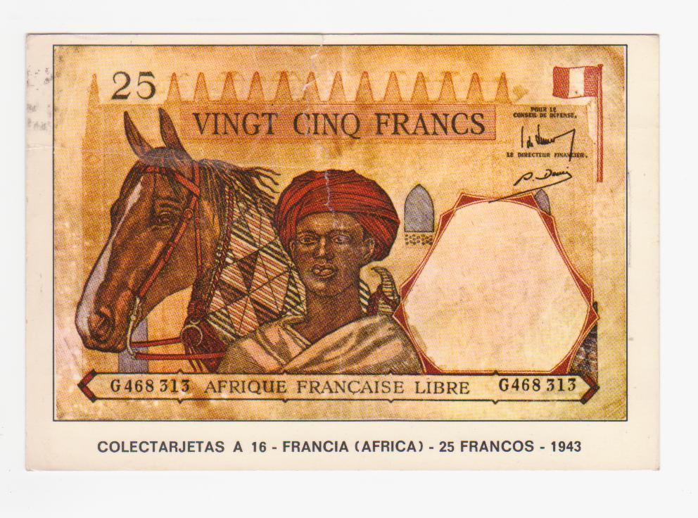 25 francos Afrique Francaise libre, 1943 (postal) Postal_billete