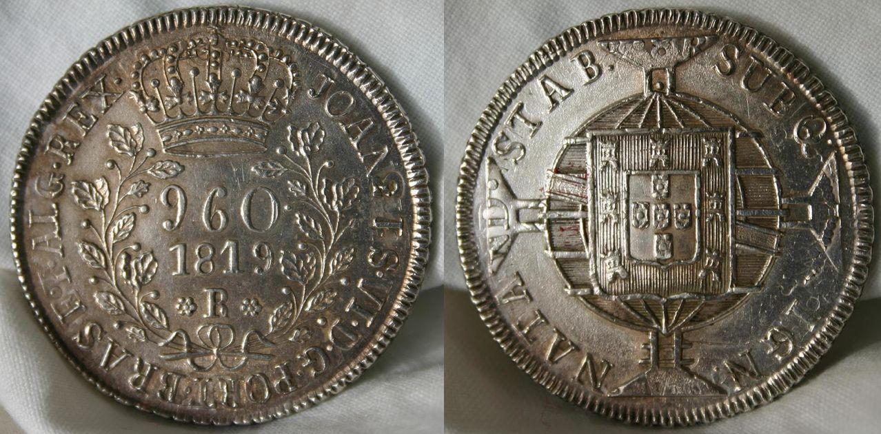 960 Reis 1819 brasileños acuñados sobre 8 Reales 1813 de Fernando VII 960_Reis_1819_over_8_Reales_1813_3