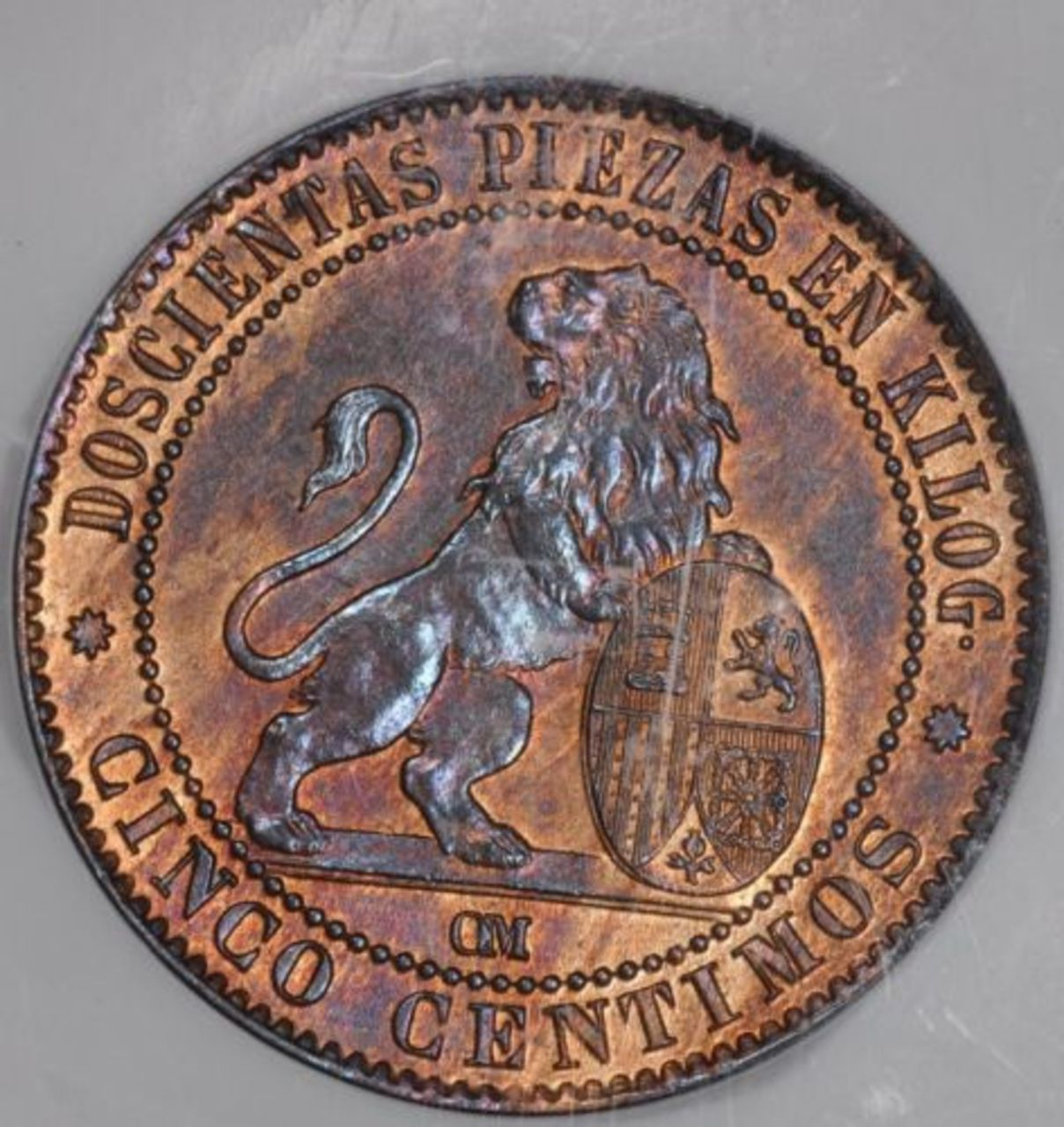 5 céntimos 1870 NGC MS 64 RB - Página 2 Spain_5_Centimo_1870_M_NGC_MS64_RB_Ex_Heritage