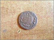 Ardite (2 diners) de Barcelona Carlos III (pretendiente). Acuñado sobre ardite de Felipe IV  P1270465