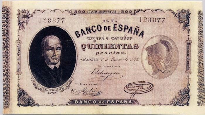 500 pesetas de 1878 Pablo de Céspedes (sus mil caras) 500_1878_77