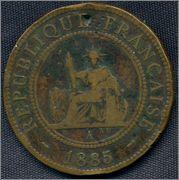 1 céntimo. Cochinchina Francesa. 1885 0236_A_1885_Rep_Francesa_Cochinchina_1_cent_001