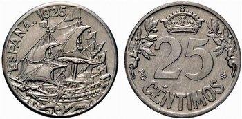 La progesion de la peseta y su decadencia. 25_centimos_1925