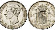 5 Pesetas Alfonso XII 1878 Image