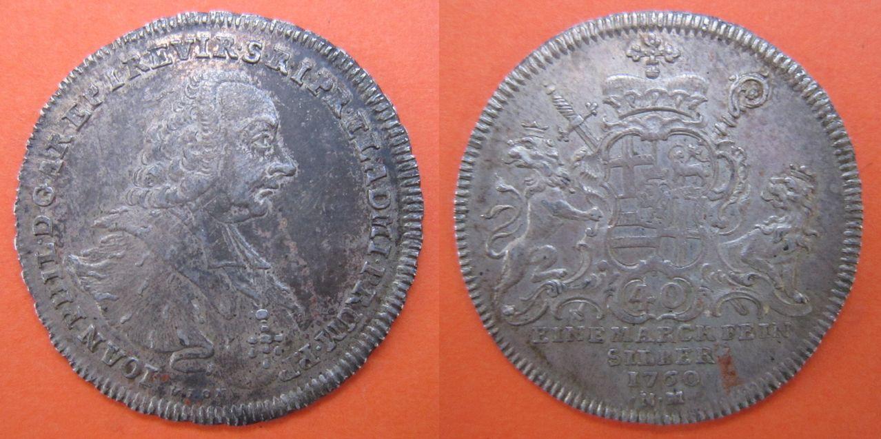 ¼ Konventionstaler de Coblenza. (Bitburg-Prüm, Alemania). 30_kreuzer_1760_Trier