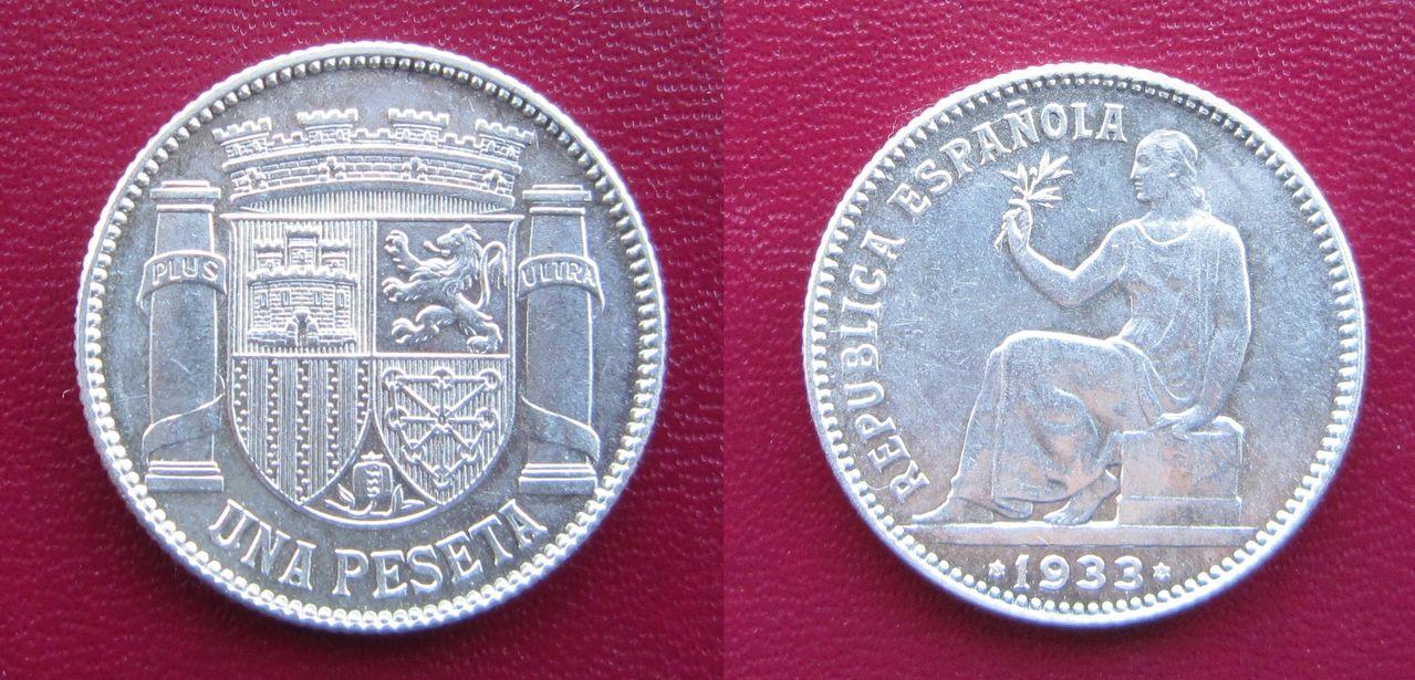 1 peseta 1933. II República Española. Madrid 1_peseta_1933_II_Rep_blica_Espa_ola