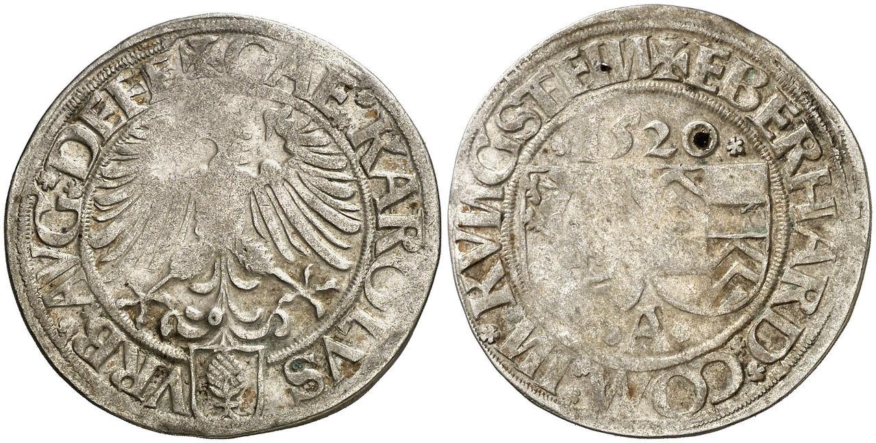 1 batzen 1520. Eppstein-Konigstein. Augsburgo Carlos_I_1520_1_batzen
