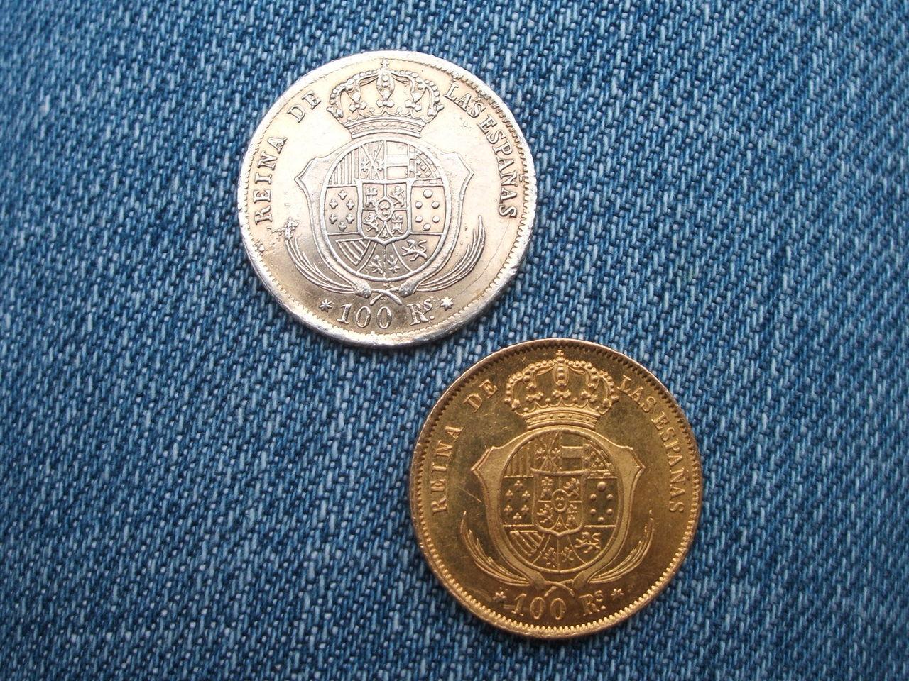 Isabel II Falsa de época en platino 016