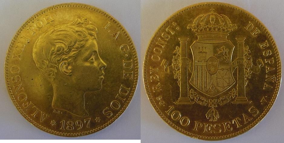100 Pesetas. Alfonso XIII. 1897. Madrid. IMGP3397