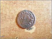 Ardite (2 diners) de Barcelona Carlos III (pretendiente). Acuñado sobre ardite de Felipe IV  P1270464