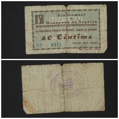 50 Céntimos Granyena de Segarra, 1937 ( 1ª Emisión) T_1186