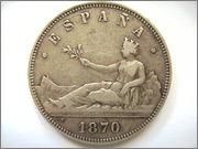 5 Pesetas 1870 *18* *70* Image