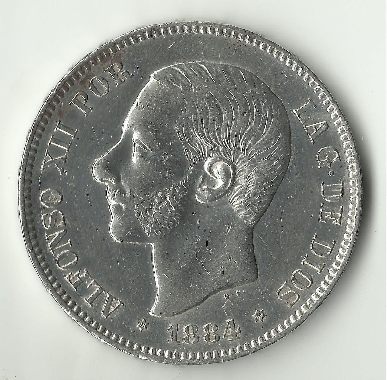 5 pesetas 1884 *18*84. Alfonso -XII. 5_ptas_1884_ebc