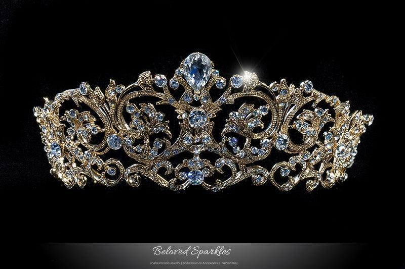 تيجان ملكية  امبراطورية فاخرة Matilda-vintage-victorian-swarovski-crystal-gold-tiara-royal-reign-art-deco-crystal-gold-tiara-bridal-quinceanera-gold-tiara-bsltar118716g