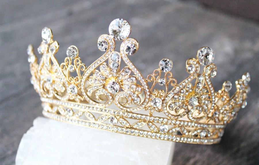 تيجان ملكية  امبراطورية فاخرة Gold-full-bridal-crown-grace-scroll-swarovski-crystal-wedding-crown-edwardian-wedding-tiara-royal-bridal-crown-grace-manchester-crown