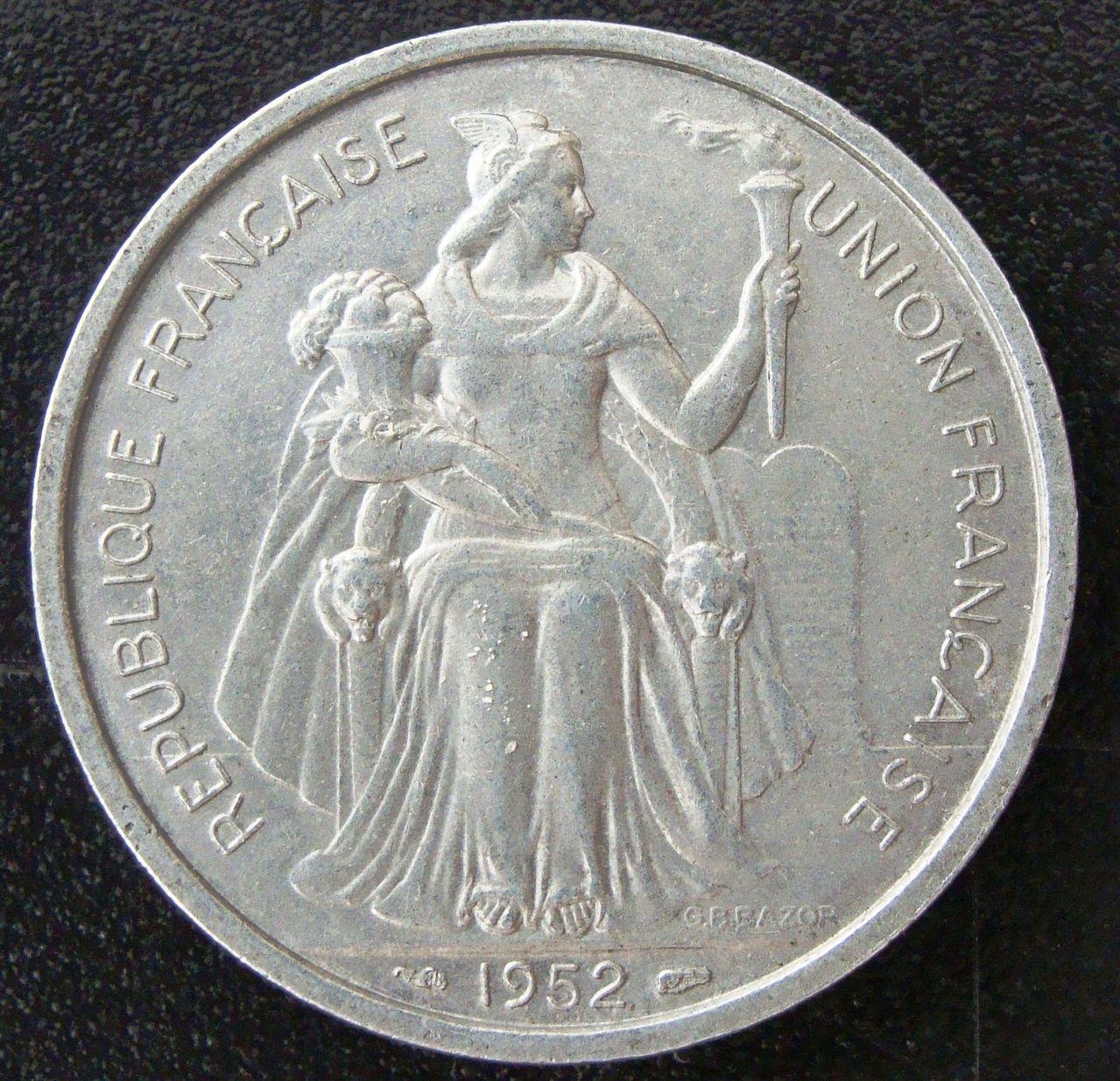 5 Francos. Oceanía francesa (1952) PLI_5_Francos_1952_anv
