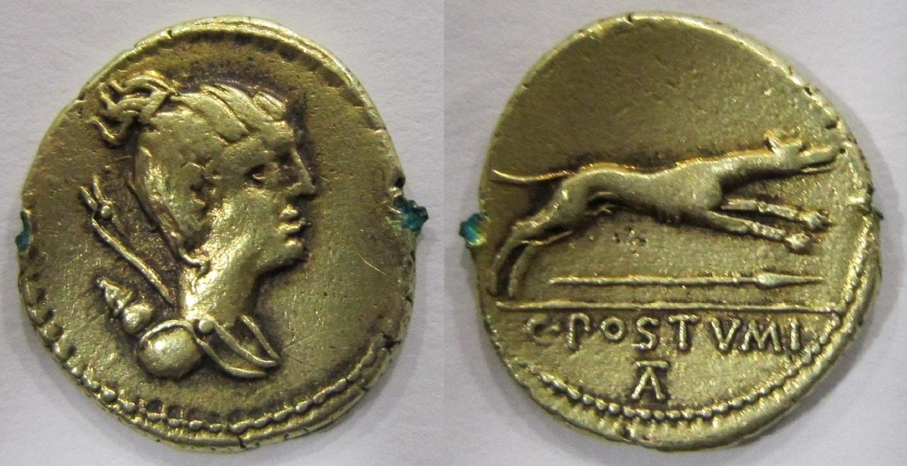 Denario republicano gens Postumia. C.POSTVMI/TA. Galgo corriendo a dcha. Ceca Roma. Denario_Gens_Postumia_74_ac