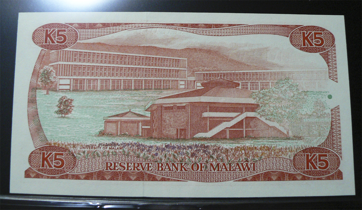 5 Kwacha Malawi, 1988. Mlw20br