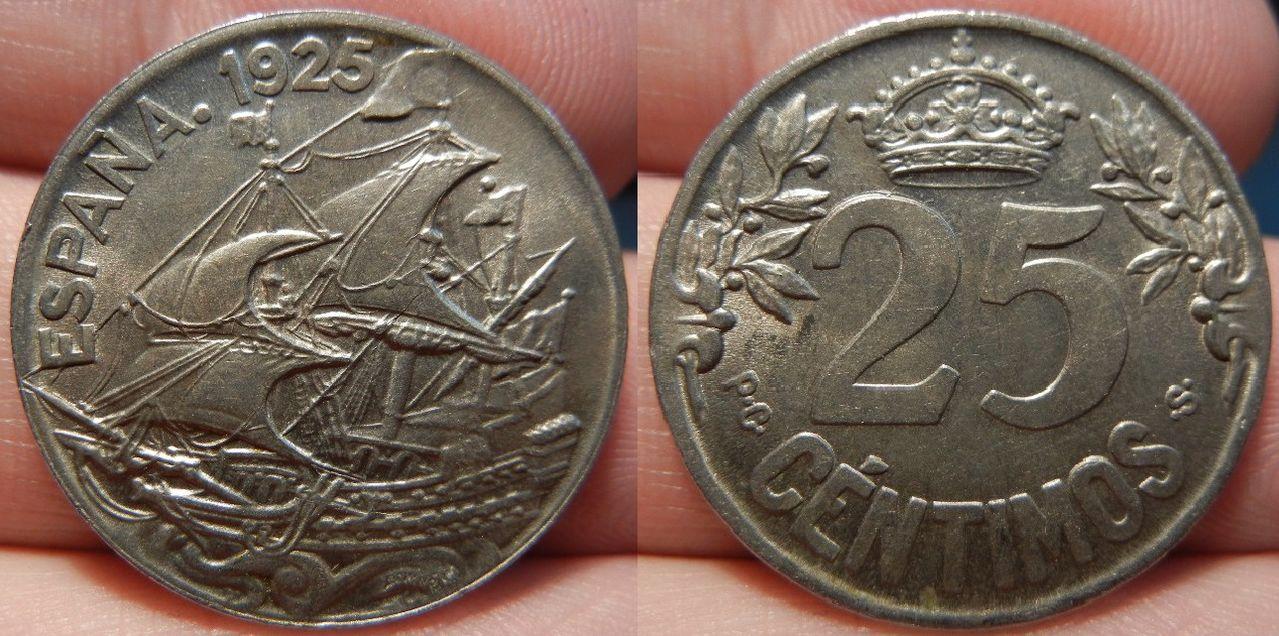 25 céntimos. Alfonso XIII. 1925. Madrid. SC. Hjhuhjhjhuuyh6666