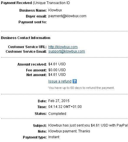 3º Pago de Klowbux ( $4,61 ) Klowbuxpayment