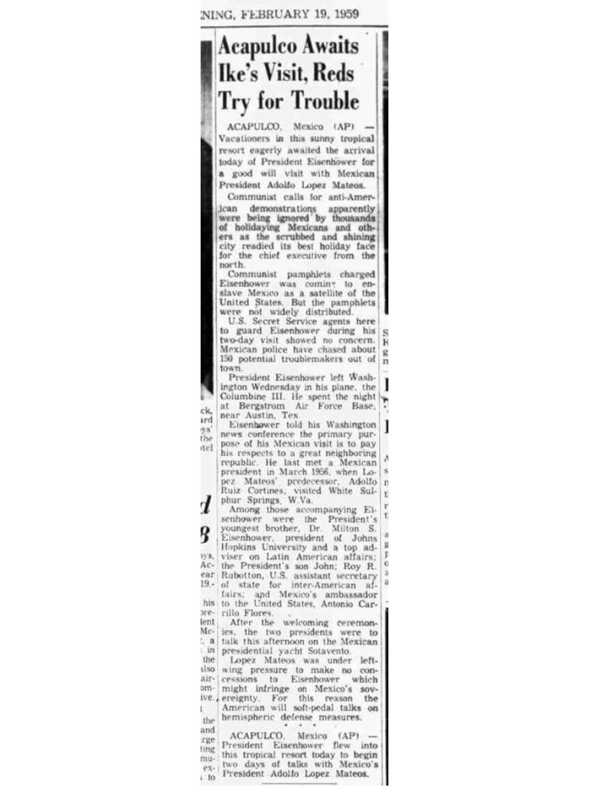 YATES PRESIDENCIALES – YATE SOTAVENTO – ARMADA DE MEXICO - 1948 Page_1_NOTA19_FEB1959_EISENHOWERLOPEZMATEOS