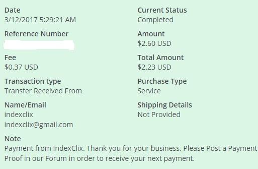 1º Pago de IndexClix ( $2,60 ) Indexclixpayment