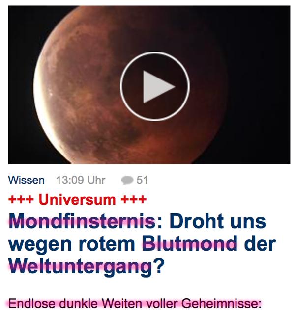 Fundstücke und 'Hinweise' auf den bevorstehenden heißen Krieg?! Blutmond