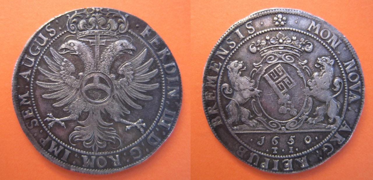 1 Thaler. Fernando III de Habsburgo. 1650.  Bremen - Página 2 1_Taler_Bremen_1650