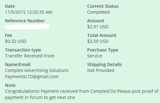 1º Pago de Complexclix ( $2,91 ) Complexclixpayment