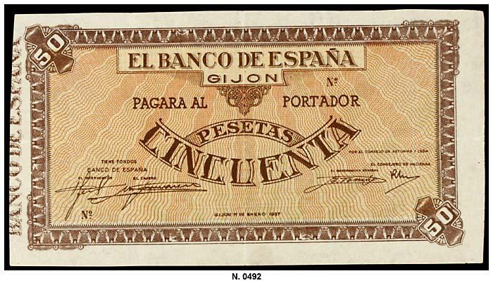 50 Pesetas Banco España Gijón, Enero 1937 (El billete de mis sueños a subastas en Aúreo)  0492g