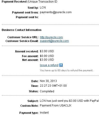 2º Pago de USAClix ( $3,00 ) Usaclixpayment
