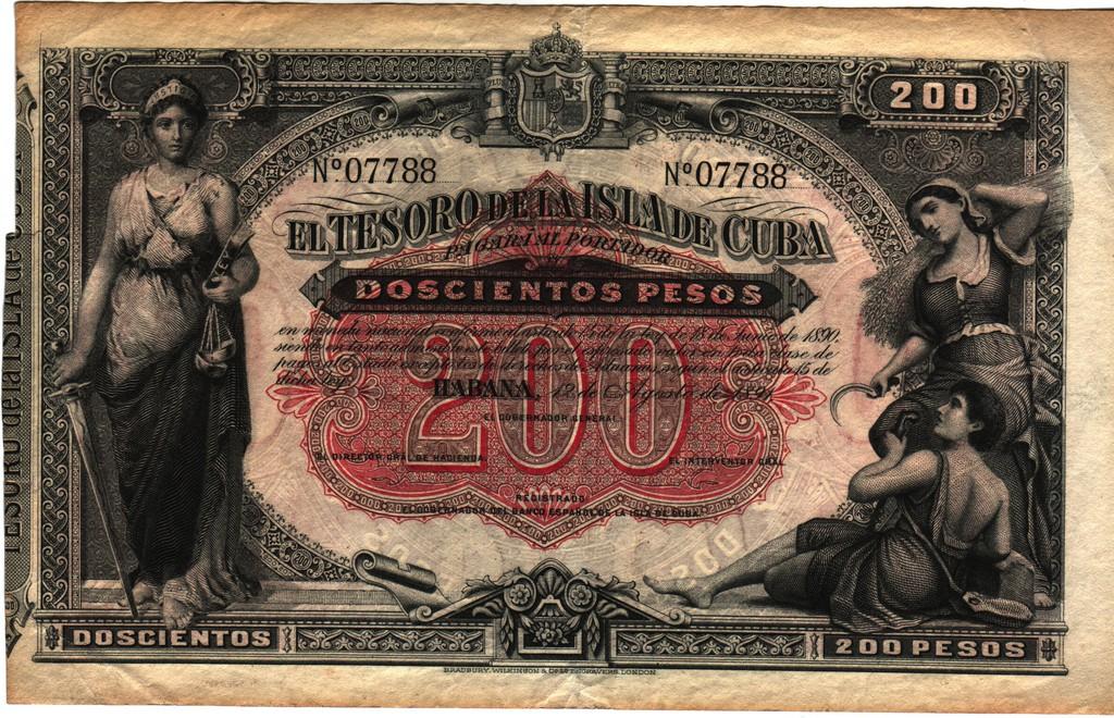 Cuba 200 pesos 1891 Cuba_P44ba