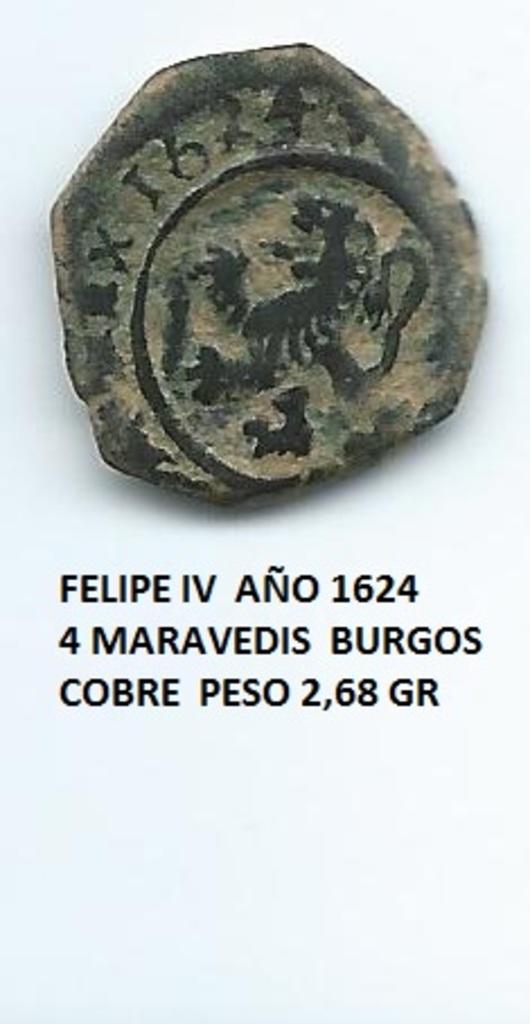 4 maravedís 1624. Felipe IV. Burgos Image