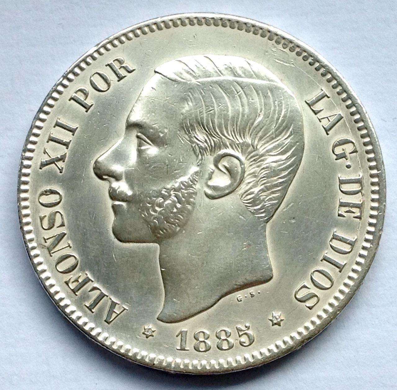 5 pesetas 1885 Alfonso XII Image