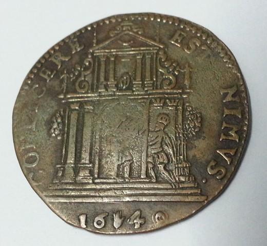 Jetón de Felipe IV. 1649. Amberes. Negociaciones de Paz entre España y Francia. Jeton_felipe_IV_1649_rev
