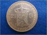 2 [size=10]1/2[/size] Gulden de 1930 a nombre de Guillermina de Holanda. 2_gulden_Holanda_1930_rever
