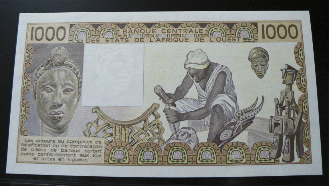 1000 Francos Estados del África del Oeste, 1990. Was207bir