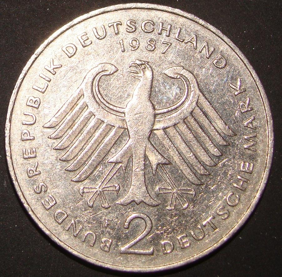 2 Marcos. República Federal Alemana (1989). Theodor Heuss RFA_2_Marcos_Theodor_Heuss_anv