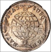960 Reis 1814 B Brasil   /   acuñado sobre un Carolus de a 8  Image