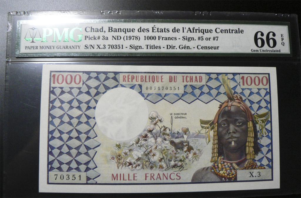 1000 Francos Chad, 1973. Chd3a