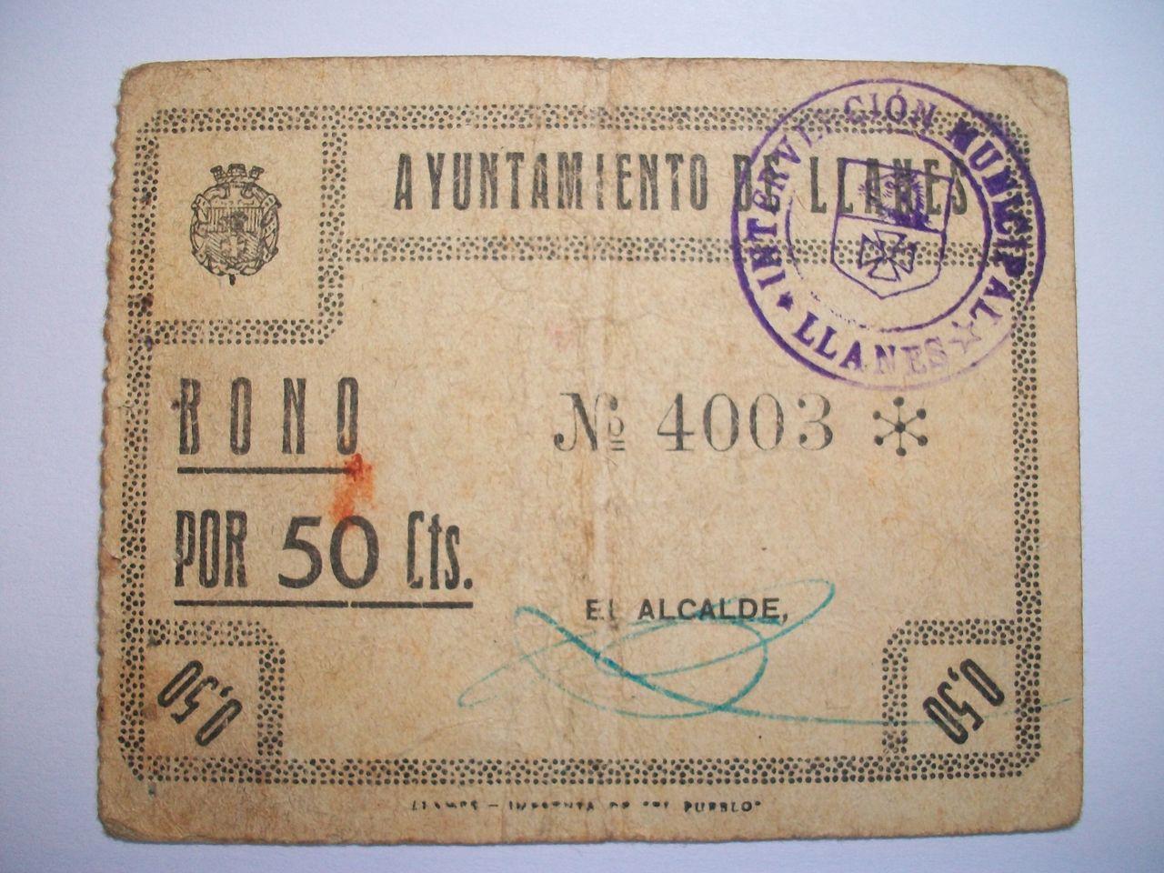 50 Céntimos Ayuntamiento de LLanes, 1937 100_1773