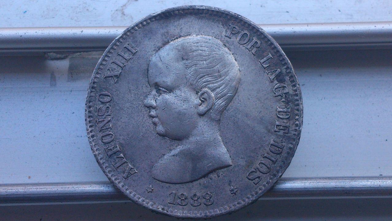 5 pesetas  1888. (*18*98) - MP-M. Alfonso XIII. Anv