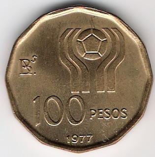 100 Pesos. Argentina (1977) Campeonato Mundial de Fútbol ARG_100_Pesos_rev