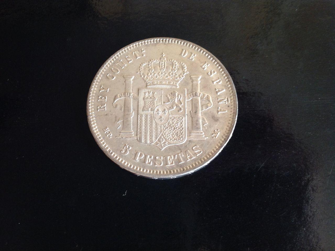 5 pesetas 1889 *89 MPM. Alfonso XIII. Image