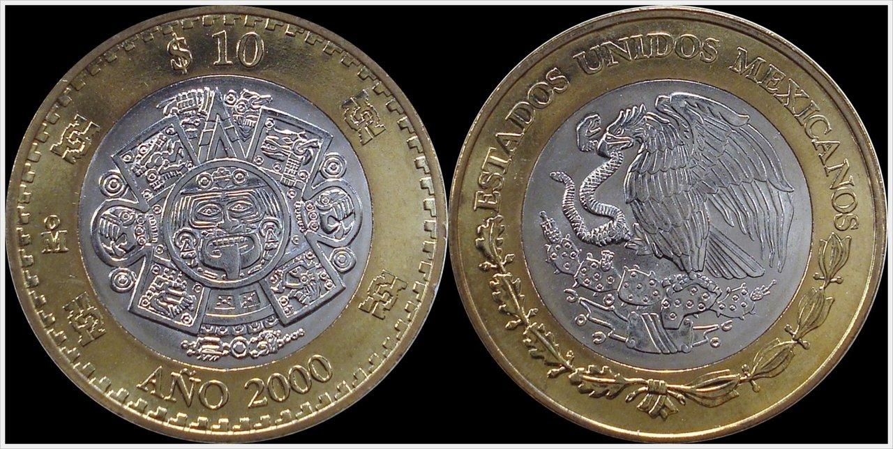 México, 50 pesos, 1993. ¡BESTIAL! 2000_Mexico_10_Pesos